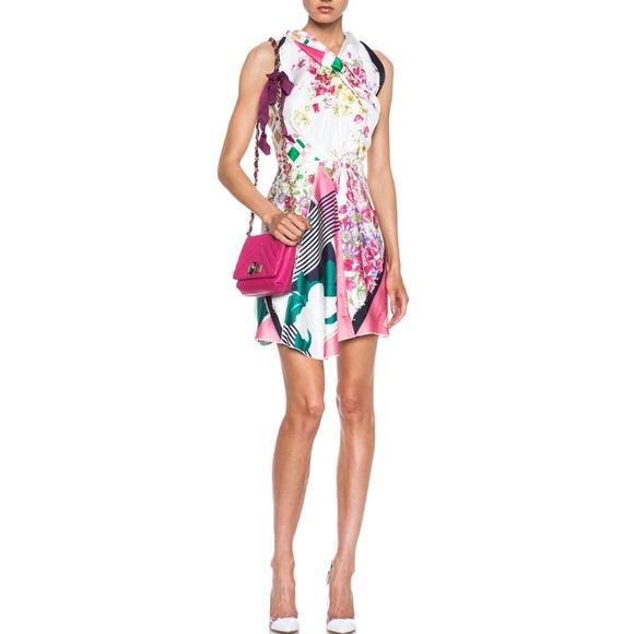 Nina Ricci Floral Print Combo Silk Halter Dress si c5f165f30